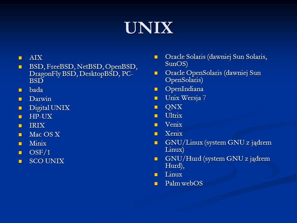 UNIX AIX AIX BSD, FreeBSD, NetBSD, OpenBSD, DragonFly BSD, DesktopBSD, PC- BSD BSD, FreeBSD, NetBSD, OpenBSD, DragonFly BSD, DesktopBSD, PC- BSD bada