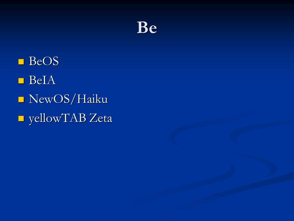 Be BeOS BeOS BeIA BeIA NewOS/Haiku NewOS/Haiku yellowTAB Zeta yellowTAB Zeta