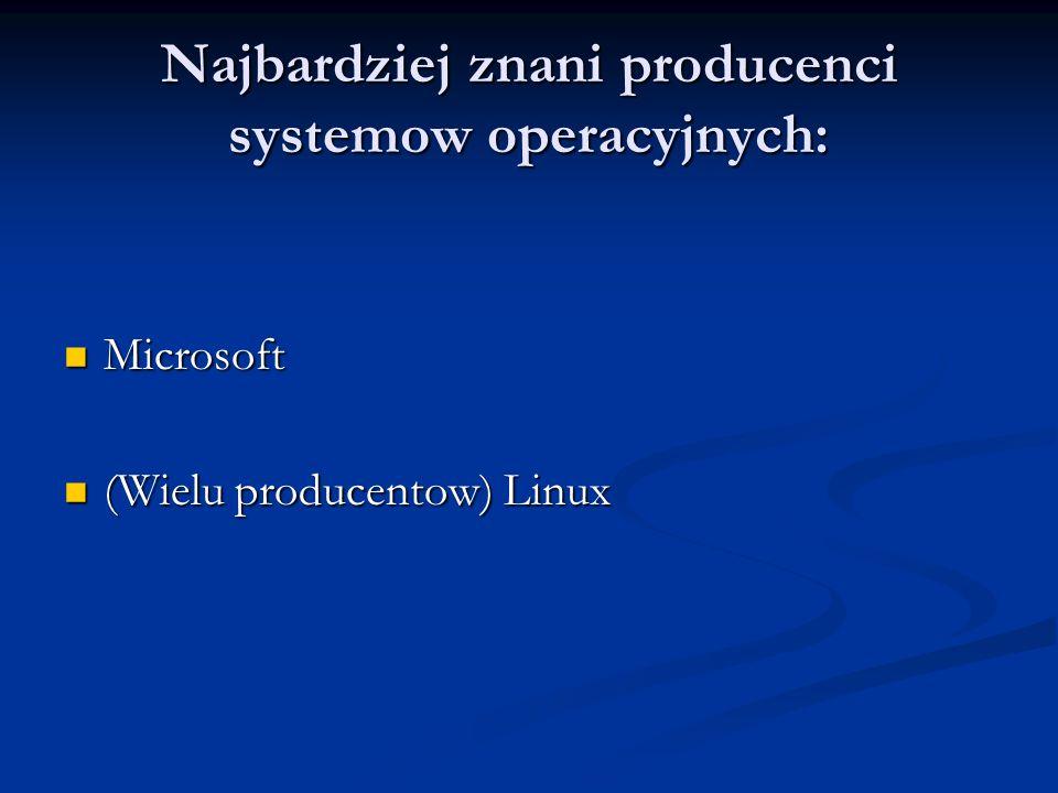 Najbardziej znani producenci systemow operacyjnych: Microsoft Microsoft (Wielu producentow) Linux (Wielu producentow) Linux