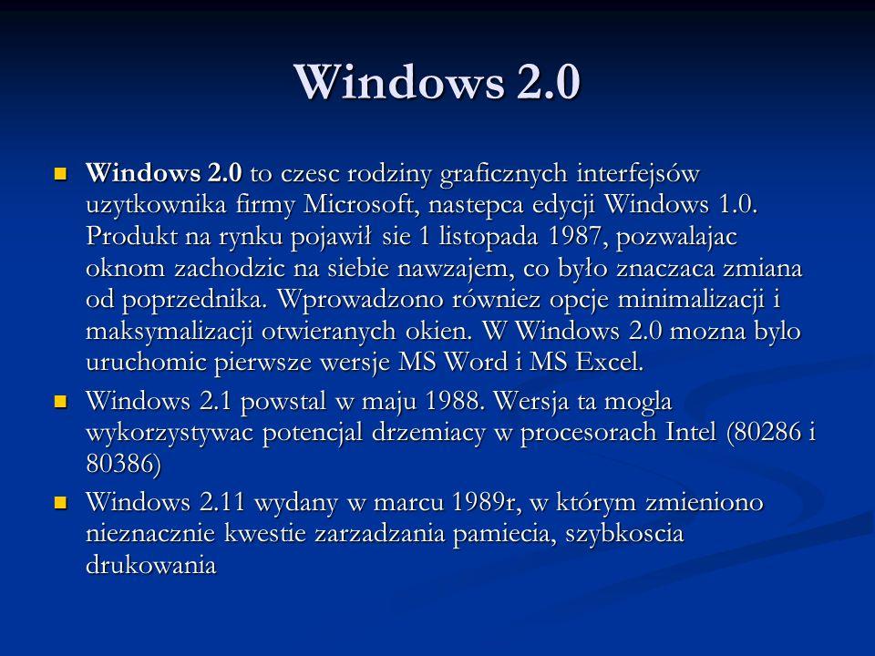 Windows 2.0 Windows 2.0 to czesc rodziny graficznych interfejsów uzytkownika firmy Microsoft, nastepca edycji Windows 1.0. Produkt na rynku pojawił si