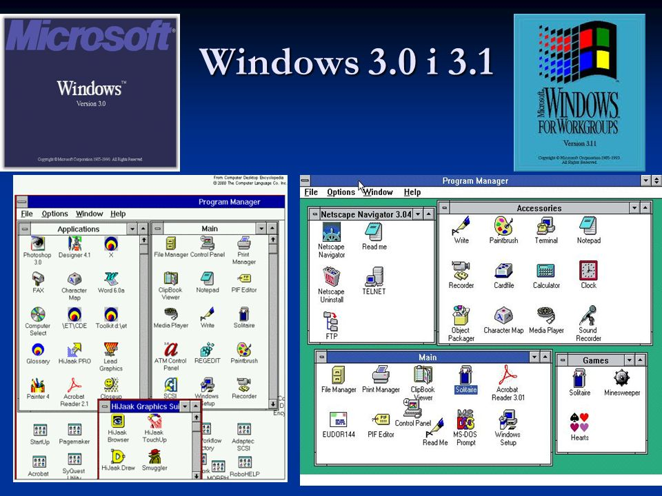 Windows 3.0 i 3.1 Windows 3.0 i 3.1