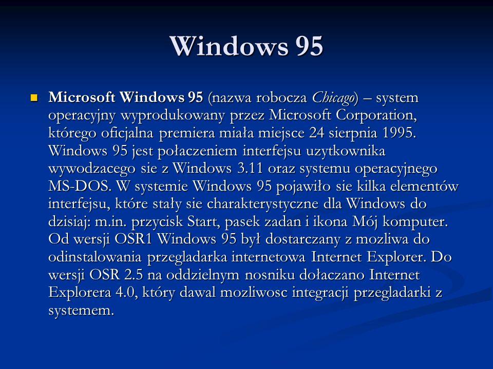 Windows 95 Microsoft Windows 95 (nazwa robocza Chicago) – system operacyjny wyprodukowany przez Microsoft Corporation, którego oficjalna premiera miał