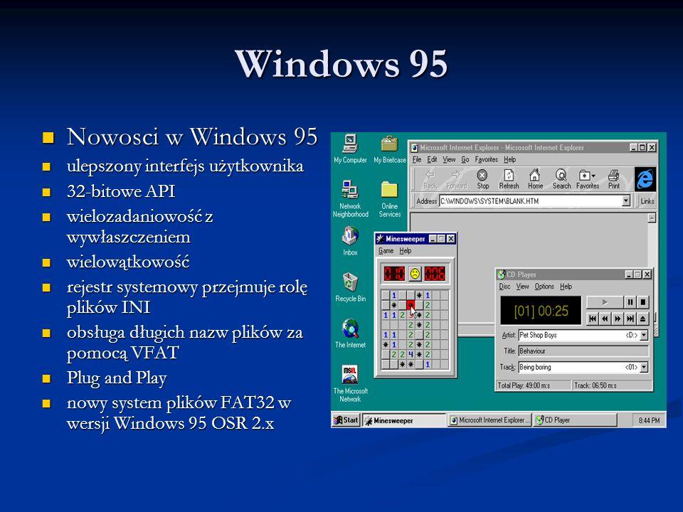 Windows 95 Nowosci w Windows 95 Nowosci w Windows 95 ulepszony interfejs użytkownika ulepszony interfejs użytkownika 32-bitowe API 32-bitowe API wielo