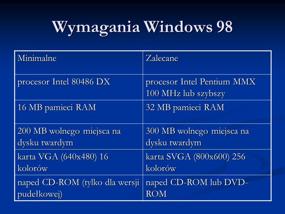 Wymagania Windows 98 MinimalneZalecane procesor Intel 80486 DX procesor Intel Pentium MMX 100 MHz lub szybszy 16 MB pamieci RAM 32 MB pamieci RAM 200