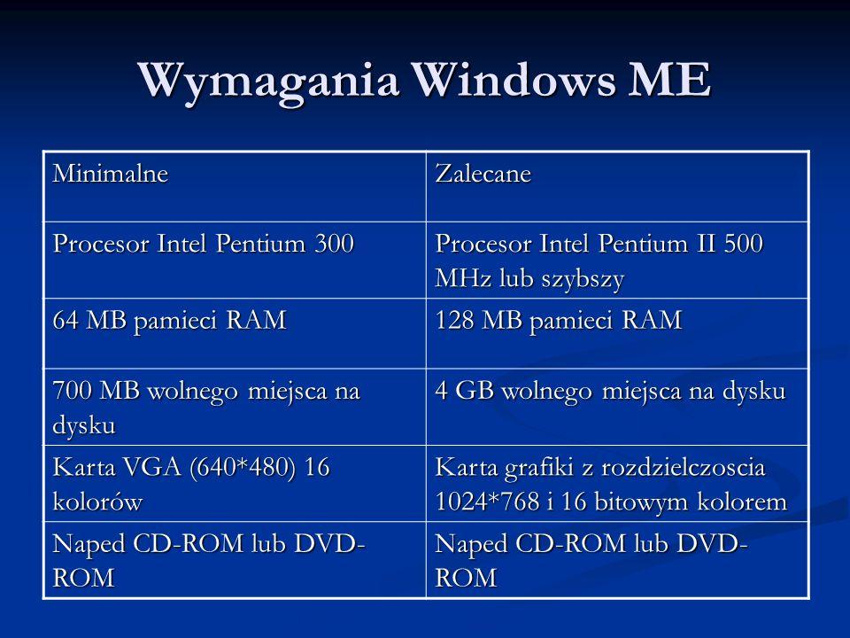 Wymagania Windows ME MinimalneZalecane Procesor Intel Pentium 300 Procesor Intel Pentium II 500 MHz lub szybszy 64 MB pamieci RAM 128 MB pamieci RAM 7