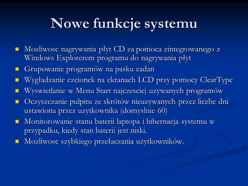 Nowe funkcje systemu Mozliwosc nagrywania płyt CD za pomoca zintegrowanego z Windows Explorerem programu do nagrywania płyt Mozliwosc nagrywania płyt