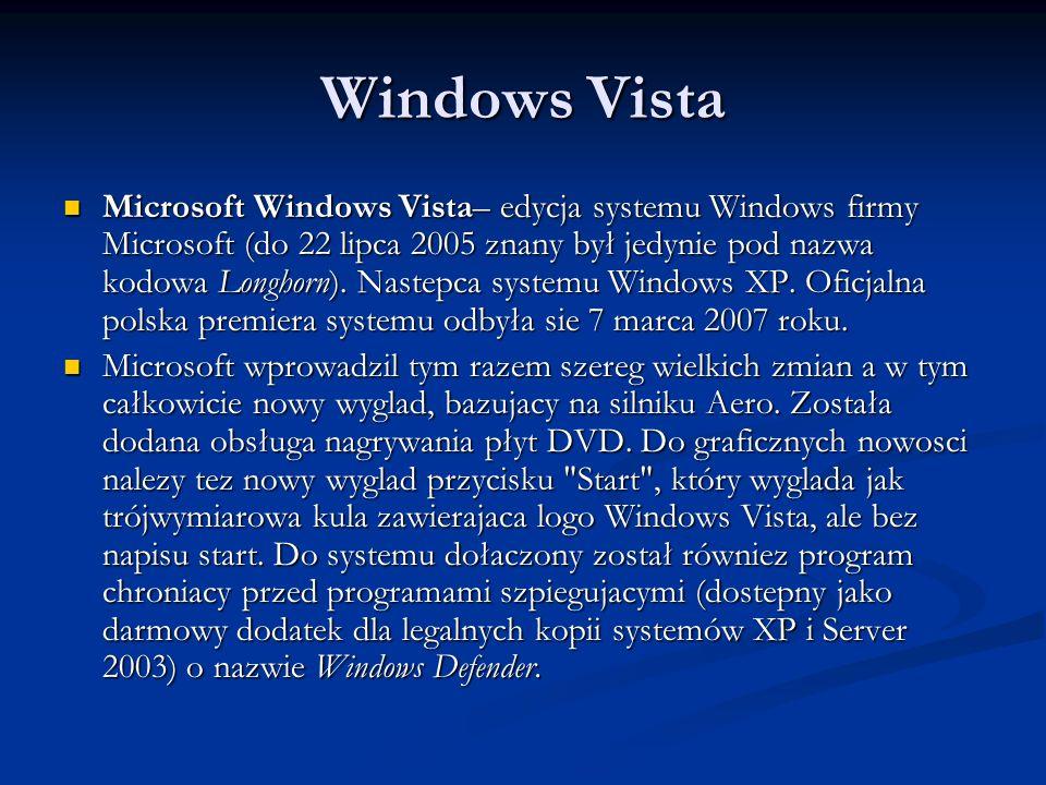 Windows Vista Microsoft Windows Vista– edycja systemu Windows firmy Microsoft (do 22 lipca 2005 znany był jedynie pod nazwa kodowa Longhorn). Nastepca