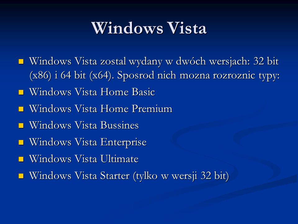Windows Vista Windows Vista zostal wydany w dwóch wersjach: 32 bit (x86) i 64 bit (x64). Sposrod nich mozna rozroznic typy: Windows Vista zostal wydan