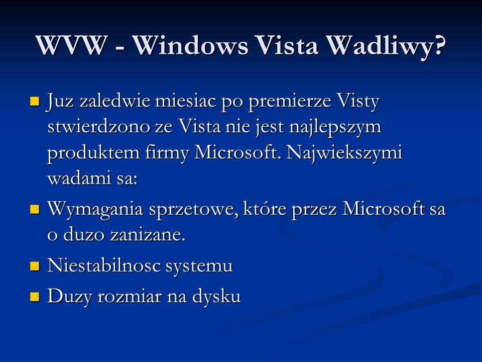 WVW - Windows Vista Wadliwy? Juz zaledwie miesiac po premierze Visty stwierdzono ze Vista nie jest najlepszym produktem firmy Microsoft. Najwiekszymi