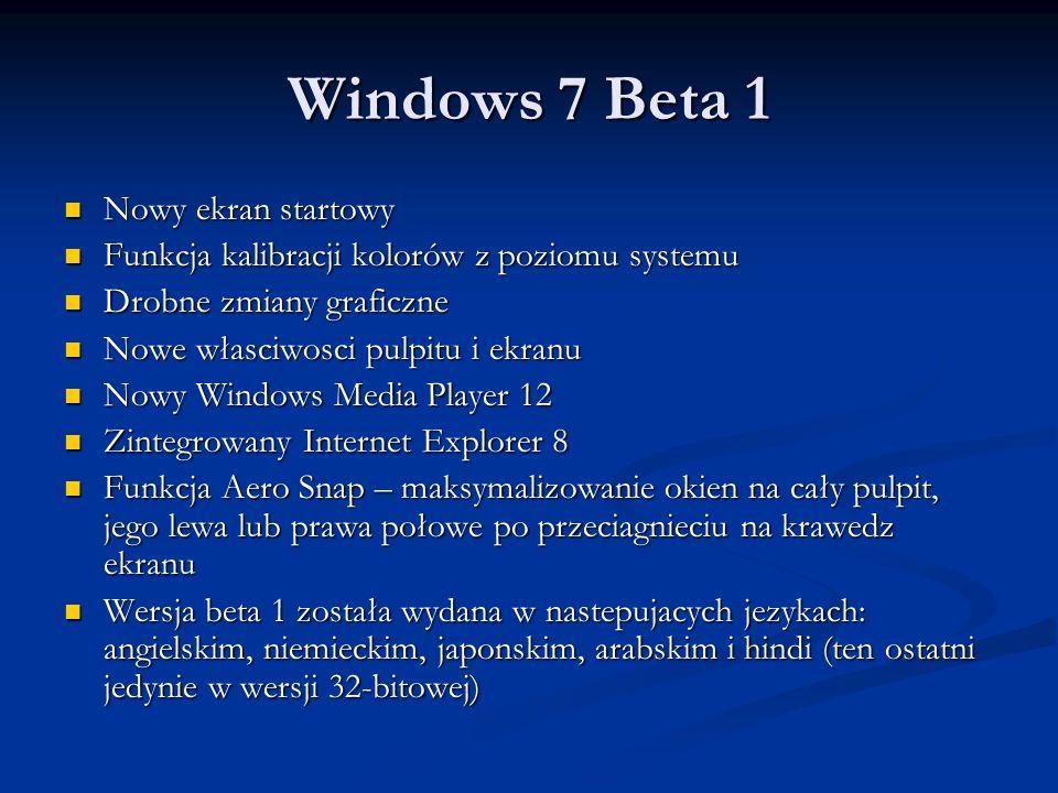 Windows 7 Beta 1 Nowy ekran startowy Nowy ekran startowy Funkcja kalibracji kolorów z poziomu systemu Funkcja kalibracji kolorów z poziomu systemu Dro