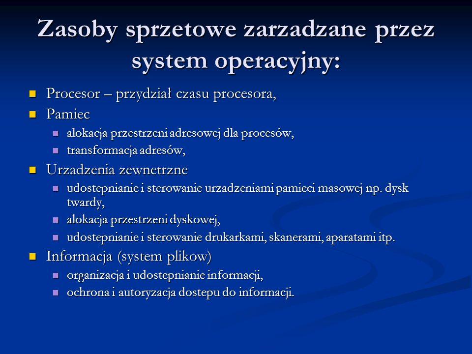Zasoby sprzetowe zarzadzane przez system operacyjny: Procesor – przydział czasu procesora, Procesor – przydział czasu procesora, Pamiec Pamiec alokacj