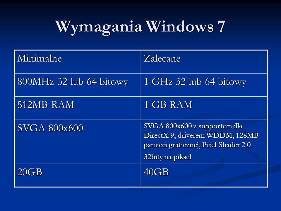 Wymagania Windows 7 MinimalneZalecane 800MHz 32 lub 64 bitowy 1 GHz 32 lub 64 bitowy 512MB RAM 1 GB RAM SVGA 800x600 SVGA 800x600 z supportem dla Dire