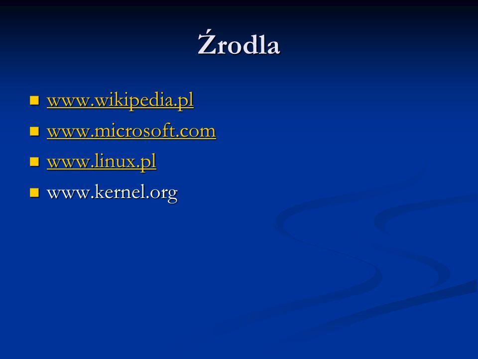 Źrodla www.wikipedia.pl www.wikipedia.pl www.wikipedia.pl www.microsoft.com www.microsoft.com www.microsoft.com www.linux.pl www.linux.pl www.linux.pl