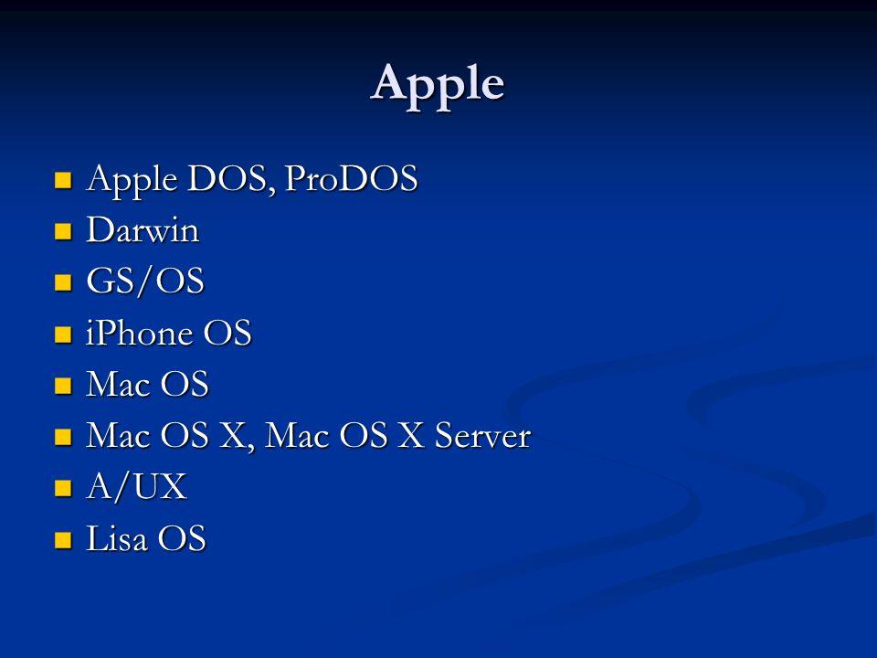 Apple Apple DOS, ProDOS Apple DOS, ProDOS Darwin Darwin GS/OS GS/OS iPhone OS iPhone OS Mac OS Mac OS Mac OS X, Mac OS X Server Mac OS X, Mac OS X Ser