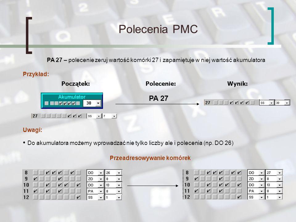 Polecenia PMC Instrukcje skoku: SK 10 – wykonanie tego rozkazu powoduje bezwarunkowy przeskok wykonywanego programu do komórki o adresie 10 SS 0 – wykonanie tego rozkazu powoduje bezwarunkowy przeskok wykonywanego programu do komórki o adresie 0 i zatrzymanie programu SM 10 – wykonanie tego rozkazu powoduje skok do komórki o adresie 10 w momencie kiedy wartość akumulatora będzie ujemna w przeciwnym razie program przejdzie do następnej komórki Menu