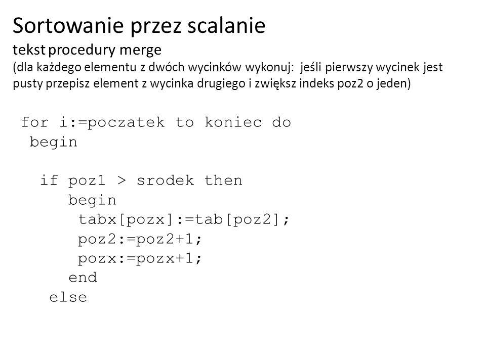 for i:=poczatek to koniec do begin if poz1 > srodek then begin tabx[pozx]:=tab[poz2]; poz2:=poz2+1; pozx:=pozx+1; end else Sortowanie przez scalanie t