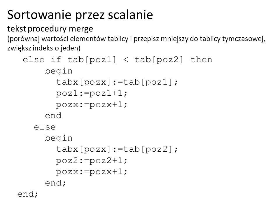 else if tab[poz1] < tab[poz2] then begin tabx[pozx]:=tab[poz1]; poz1:=poz1+1; pozx:=pozx+1; end else begin tabx[pozx]:=tab[poz2]; poz2:=poz2+1; pozx:=