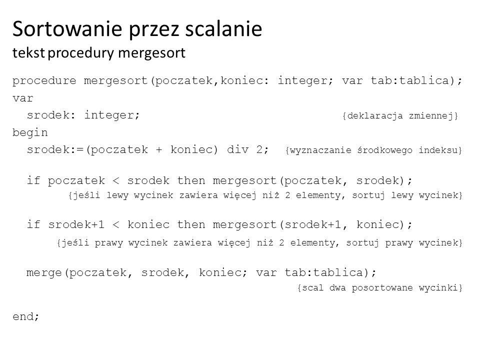 W procedurze scalania dwóch posortowanych wycinków wykorzystamy dwa indeksy: poz1 oraz poz2.
