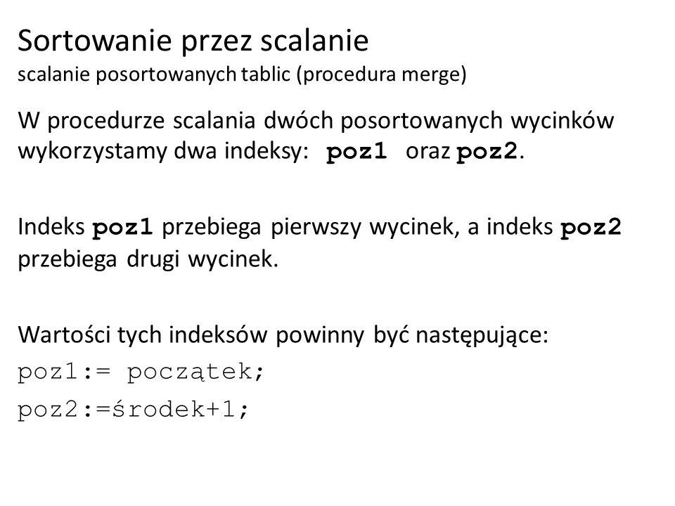 W procedurze scalania dwóch posortowanych wycinków wykorzystamy dwa indeksy: poz1 oraz poz2. Indeks poz1 przebiega pierwszy wycinek, a indeks poz2 prz