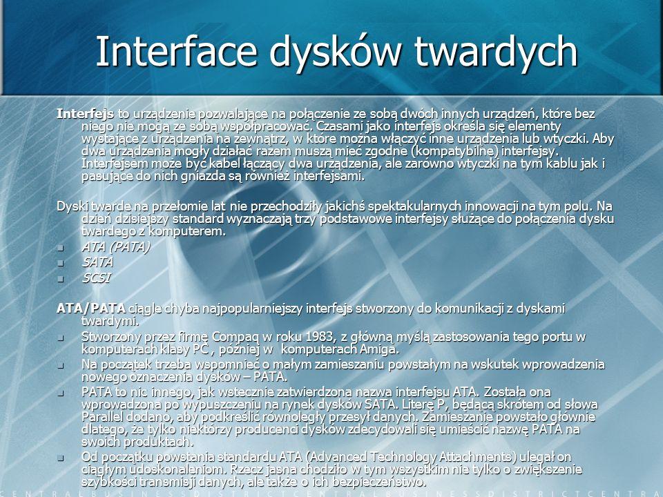Interface dysków twardych Interfejs to urządzenie pozwalające na połączenie ze sobą dwóch innych urządzeń, które bez niego nie mogą ze sobą współpraco