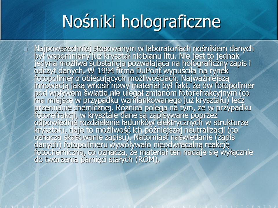 Nośniki holograficzne Najpowszechniej stosowanym w laboratoriach nośnikiem danych był wspomniany już kryształ niobianu litu. Nie jest to jednak jedyna