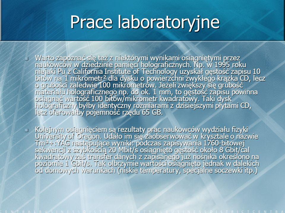 Prace laboratoryjne Warto zapoznać się też z niektórymi wynikami osiągniętymi przez naukowców w dziedzinie pamięci holograficznych. Np. w 1995 roku ni