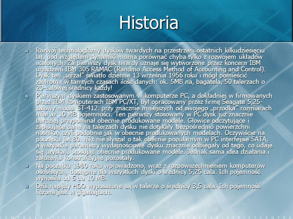 Historia Rozwój technologiczny dysków twardych na przestrzeni ostatnich kilkudziesięciu lat, pod względem dynamiki można porównać chyba tylko z rozwoj