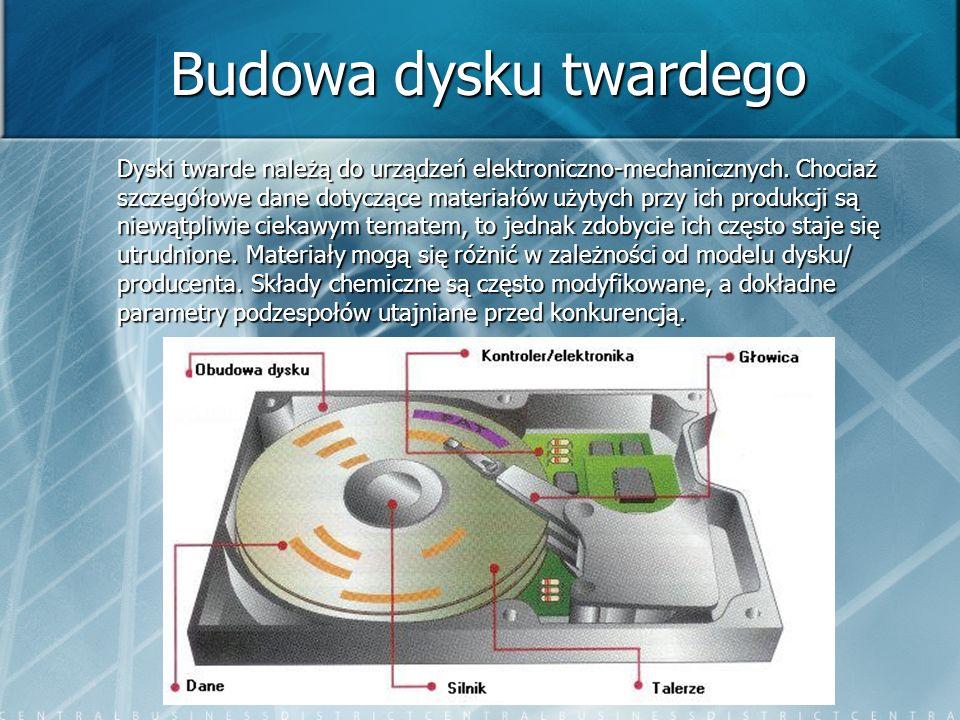 Budowa dysku twardego Dyski twarde należą do urządzeń elektroniczno-mechanicznych. Chociaż szczegółowe dane dotyczące materiałów użytych przy ich prod