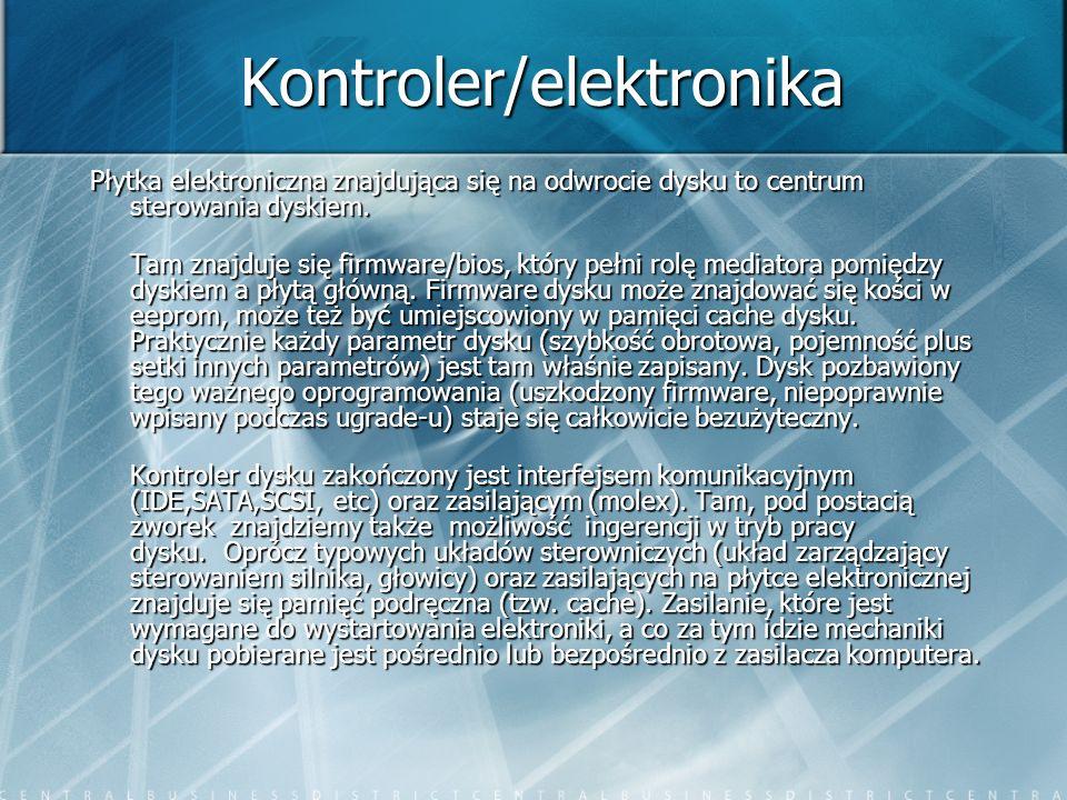 Kontroler/elektronika Płytka elektroniczna znajdująca się na odwrocie dysku to centrum sterowania dyskiem. Tam znajduje się firmware/bios, który pełni
