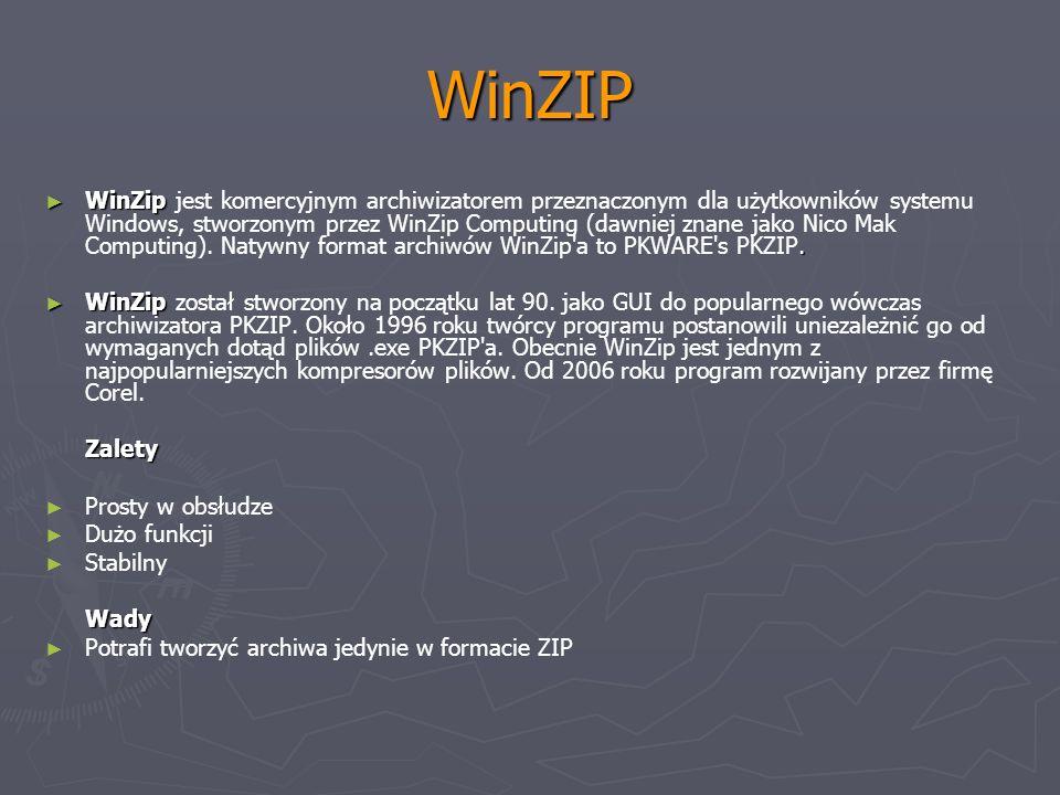 WinZIP WinZip. WinZip jest komercyjnym archiwizatorem przeznaczonym dla użytkowników systemu Windows, stworzonym przez WinZip Computing (dawniej znane
