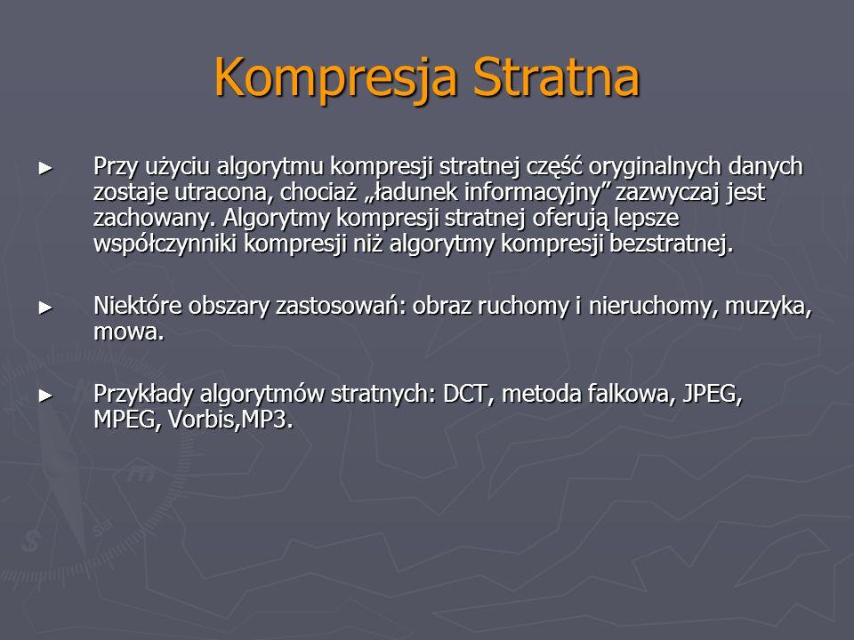 Kompresja Stratna Przy użyciu algorytmu kompresji stratnej część oryginalnych danych zostaje utracona, chociaż ładunek informacyjny zazwyczaj jest zac