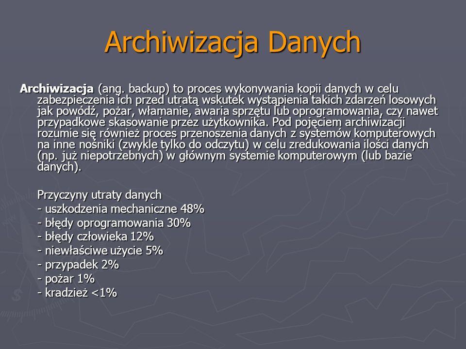 Archiwizacja Danych Archiwizacja (ang. backup) to proces wykonywania kopii danych w celu zabezpieczenia ich przed utratą wskutek wystąpienia takich zd