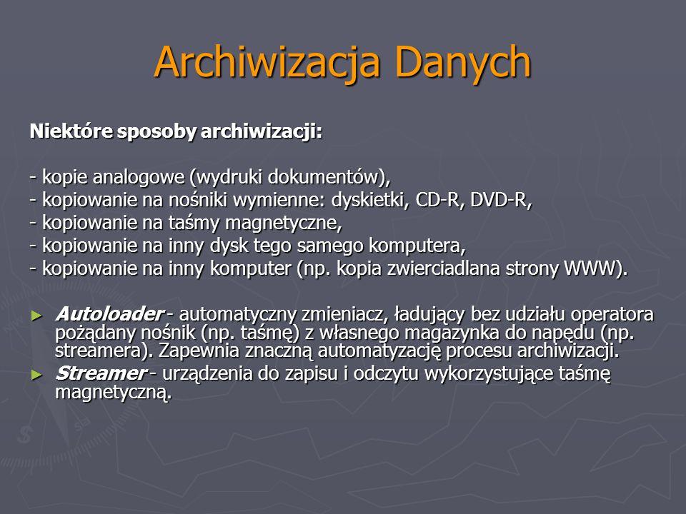 Archiwizacja Danych Niektóre sposoby archiwizacji: - kopie analogowe (wydruki dokumentów), - kopiowanie na nośniki wymienne: dyskietki, CD-R, DVD-R, -