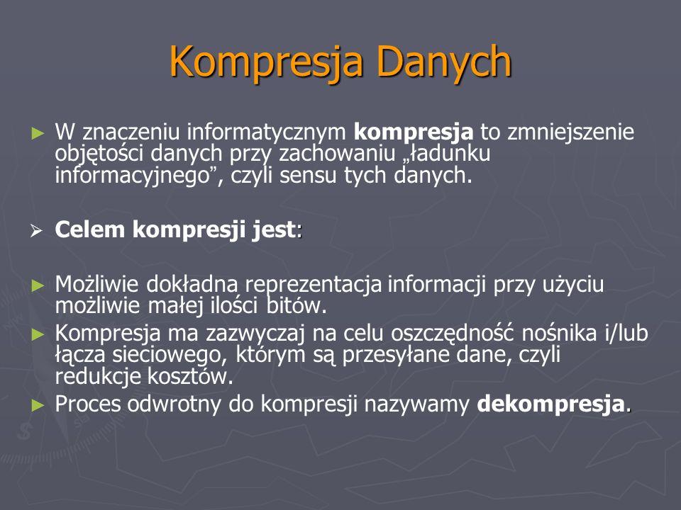 Kompresja Danych W znaczeniu informatycznym kompresja to zmniejszenie objętości danych przy zachowaniu ładunku informacyjnego, czyli sensu tych danych