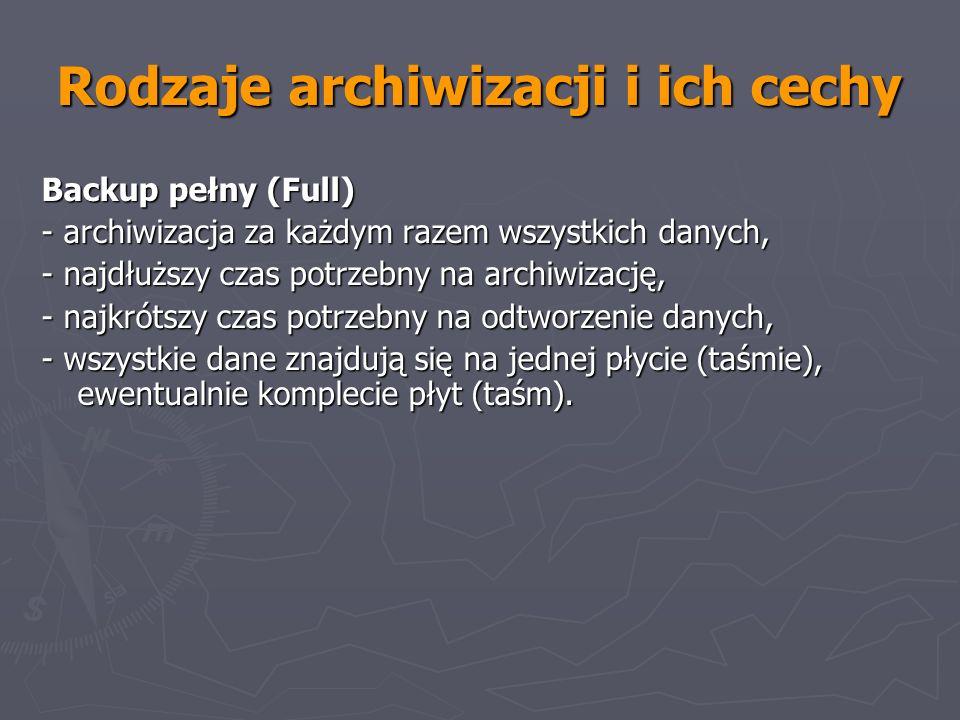 Rodzaje archiwizacji i ich cechy Backup pełny (Full) - archiwizacja za każdym razem wszystkich danych, - najdłuższy czas potrzebny na archiwizację, -