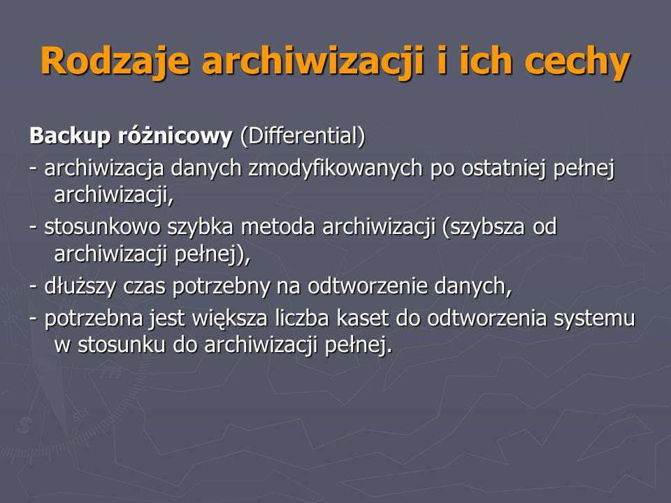 Rodzaje archiwizacji i ich cechy Backup różnicowy (Differential) - archiwizacja danych zmodyfikowanych po ostatniej pełnej archiwizacji, - stosunkowo