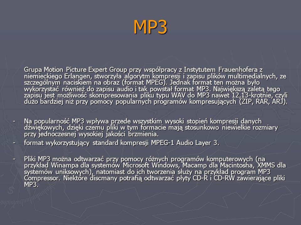 MP3 Grupa Motion Picture Expert Group przy współpracy z Instytutem Frauenhofera z niemieckiego Erlangen, stworzyła algorytm kompresji i zapisu plików