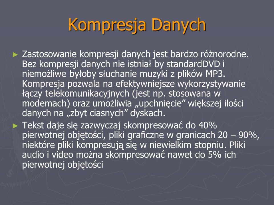 Kompresja Danych Zastosowanie kompresji danych jest bardzo różnorodne. Bez kompresji danych nie istniał by standardDVD i niemożliwe byłoby słuchanie m
