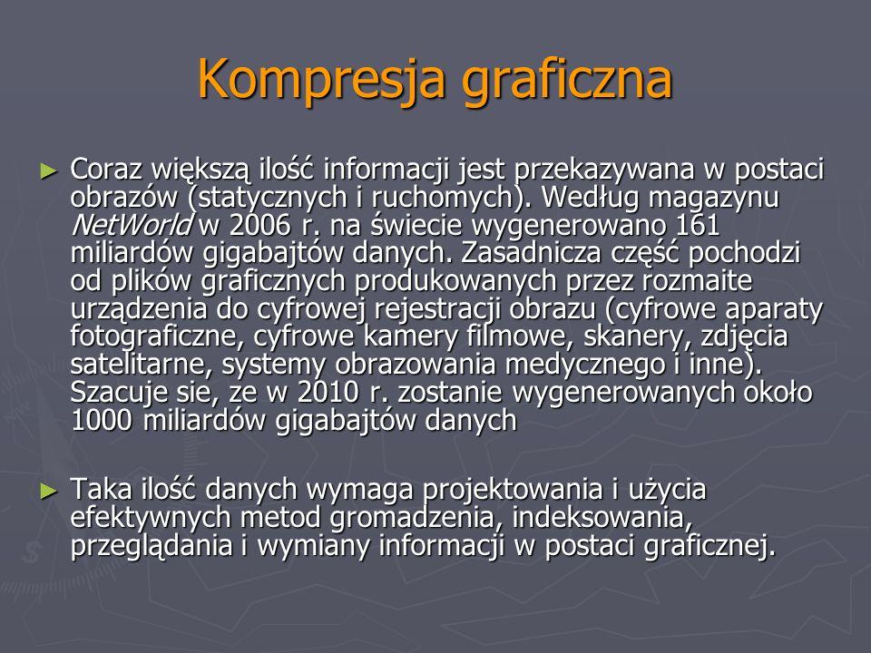 Kompresja graficzna Coraz większą ilość informacji jest przekazywana w postaci obrazów (statycznych i ruchomych). Według magazynu NetWorld w 2006 r. n