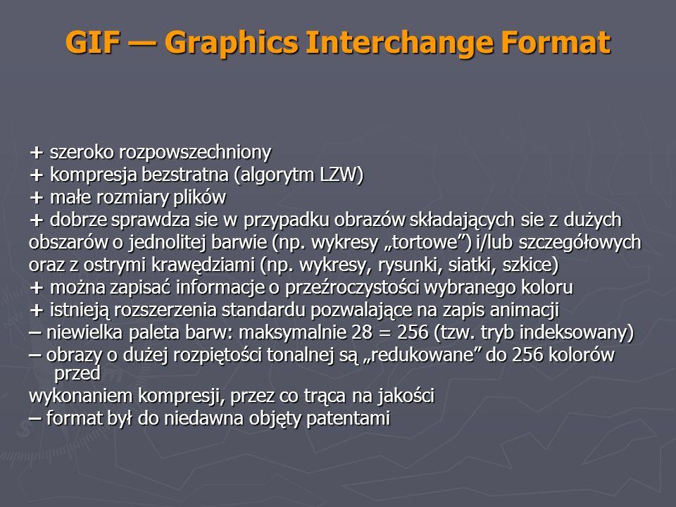 GIF Graphics Interchange Format + szeroko rozpowszechniony + kompresja bezstratna (algorytm LZW) + małe rozmiary plików + dobrze sprawdza sie w przypa