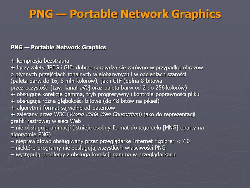 PNG Portable Network Graphics + kompresja bezstratna + łączy zalety JPEG i GIF: dobrze sprawdza sie zarówno w przypadku obrazów o płynnych przejściach