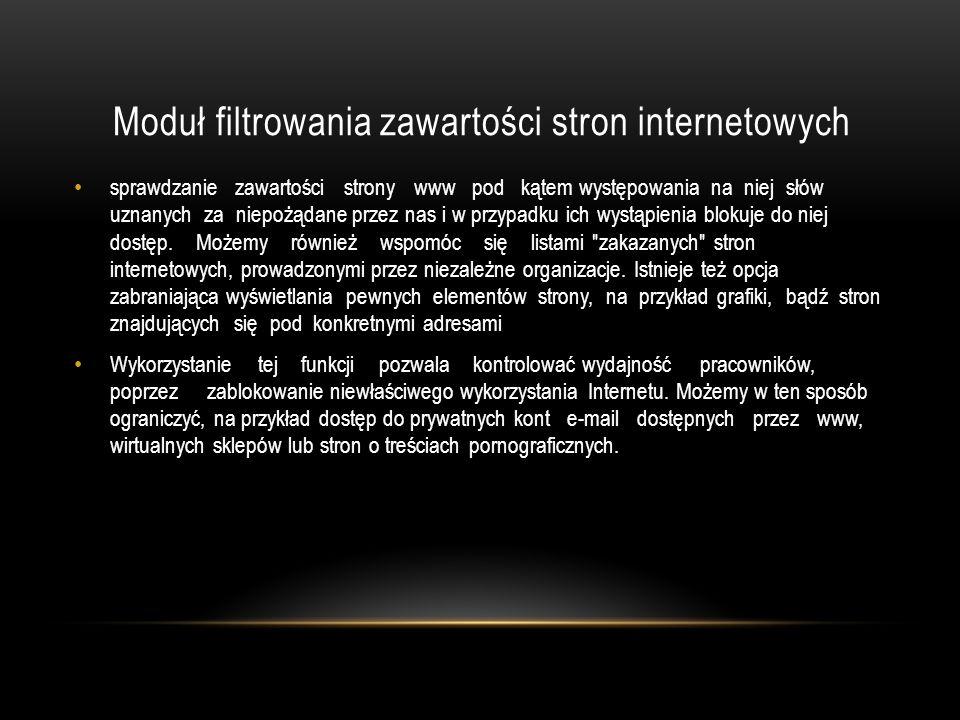 Moduł filtrowania zawartości stron internetowych sprawdzanie zawartości strony www pod kątem występowania na niej słów uznanych za niepożądane przez n