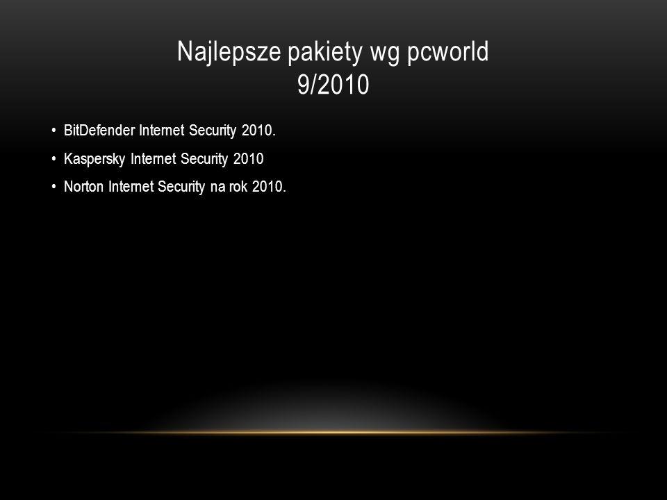 Najlepsze pakiety wg pcworld 9/2010 BitDefender Internet Security 2010. Kaspersky Internet Security 2010 Norton Internet Security na rok 2010.