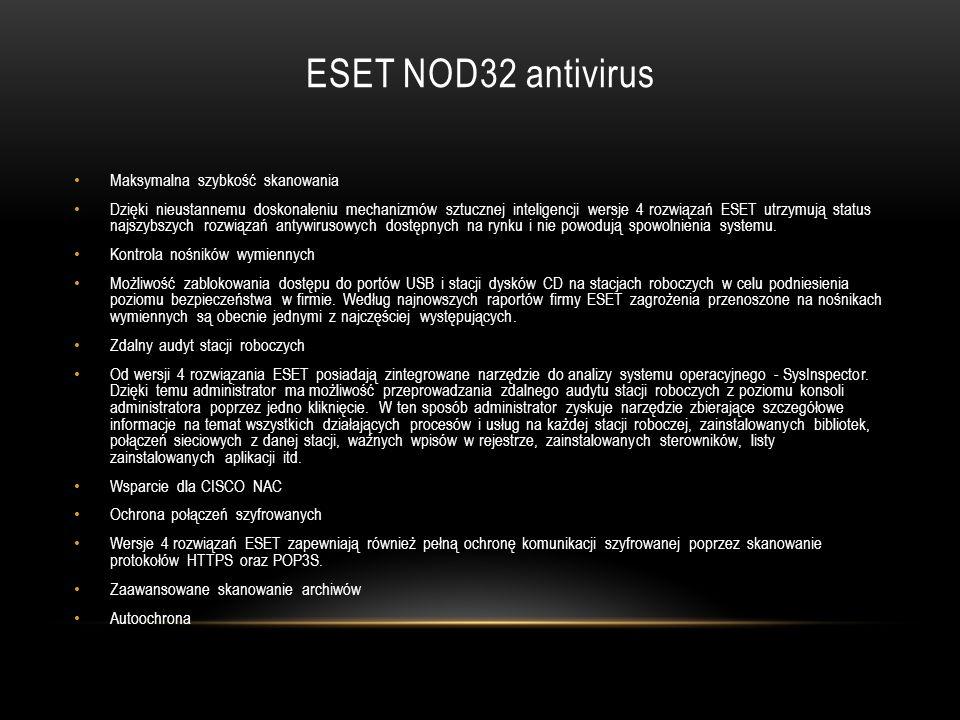 ESET NOD32 antivirus Maksymalna szybkość skanowania Dzięki nieustannemu doskonaleniu mechanizmów sztucznej inteligencji wersje 4 rozwiązań ESET utrzym