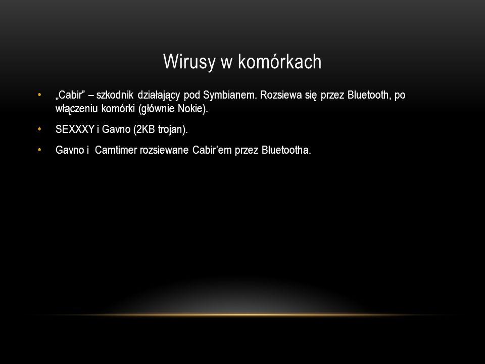 Wirusy w komórkach Cabir – szkodnik działający pod Symbianem. Rozsiewa się przez Bluetooth, po włączeniu komórki (głównie Nokie). SEXXXY i Gavno (2KB