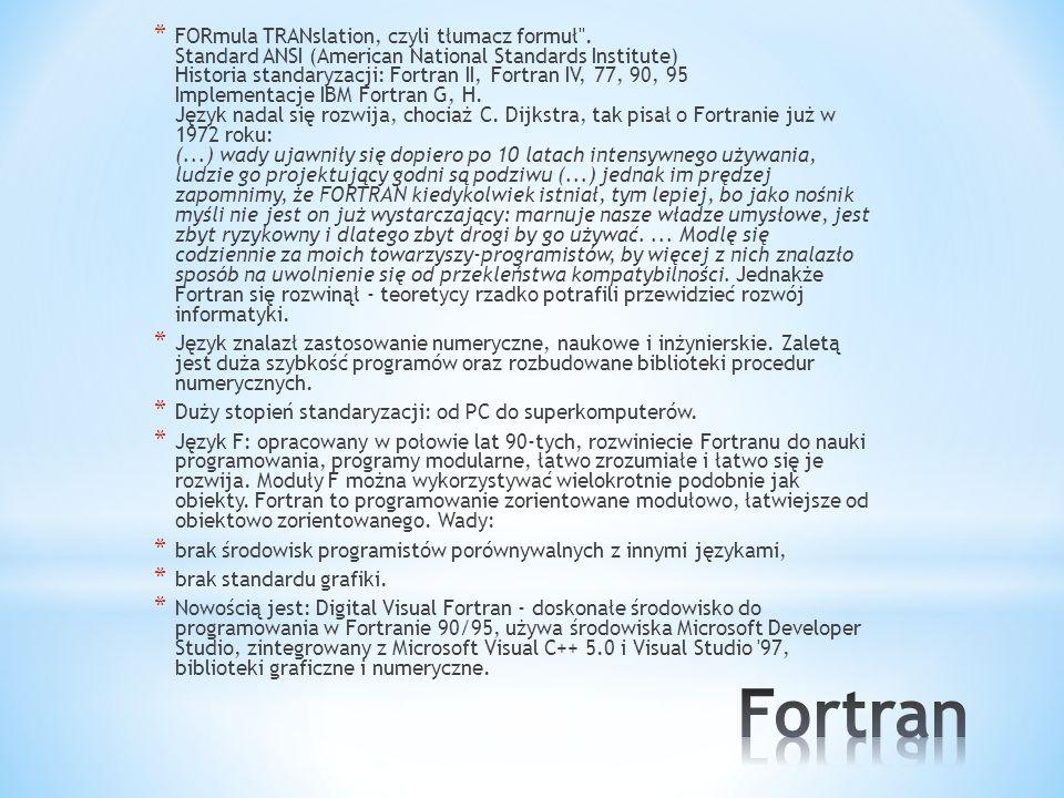 * FORmula TRANslation, czyli tłumacz formuł