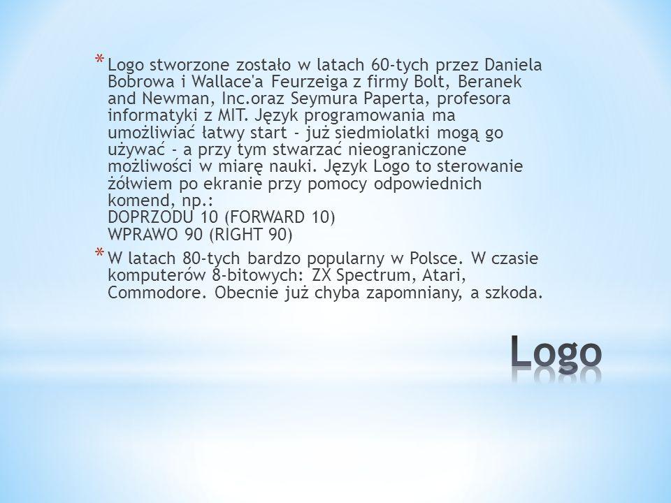 * Logo stworzone zostało w latach 60-tych przez Daniela Bobrowa i Wallace'a Feurzeiga z firmy Bolt, Beranek and Newman, Inc.oraz Seymura Paperta, prof