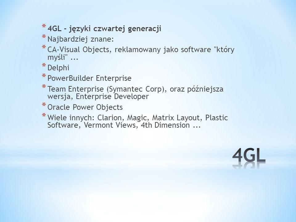 * 4GL - języki czwartej generacji * Najbardziej znane: * CA-Visual Objects, reklamowany jako software