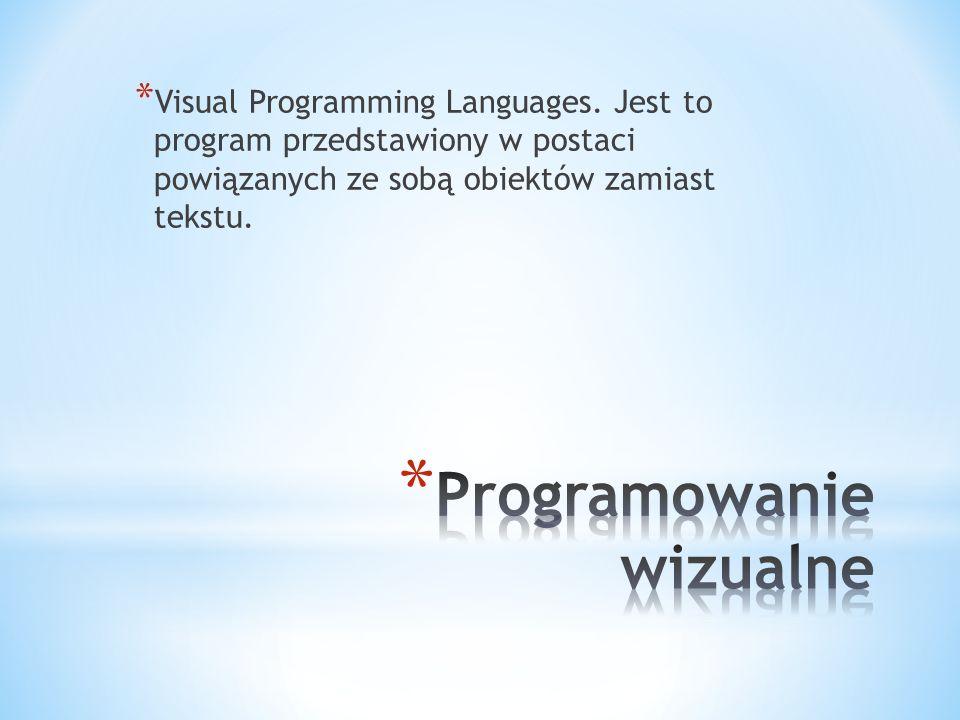 * Visual Programming Languages. Jest to program przedstawiony w postaci powiązanych ze sobą obiektów zamiast tekstu.