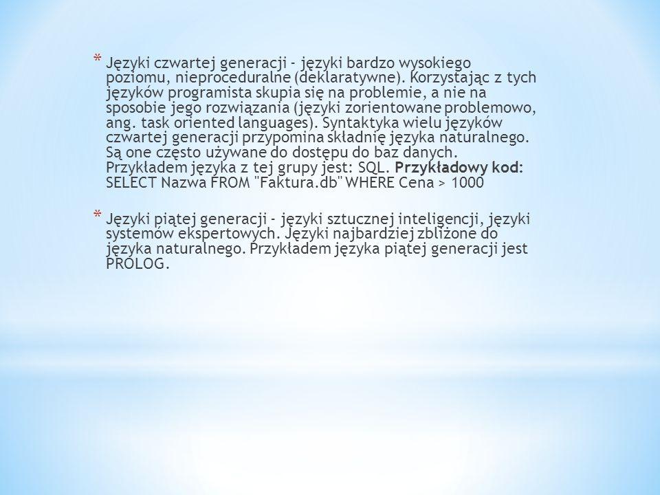 NazwaOpisKompilatoryPoziom trudności Pascal Jest to popularny ale dosyć stary język Turbo Pascal, Object Pascal, Delphi - wersja wizualna Średni C Znany język programowania, obecnie jednak mało używany Borland CWysoki C++ Obecnie najpopularniejszy język programowania, wprawdzie jest dosyć trudny, ale większość programistów go używa Borland C++, Borland C++ Bulider - wersja wizualna Wysoki Java Nowy język programowania wzorowany na C++, jest on prostszy od C++, przede wszystkim w tym, że nie trzeba zajmować się zarządzaniem pamięcią, stosem, stertą.
